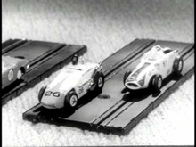 Gilbert Autorama slot car set featuring Fly-Over Chicane from 1965.