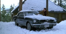 "James Caan dusts the snow of the 1966 Mustang he wrecks in ""Misery"". Luckily, Kathy ..."