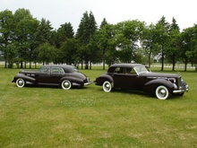 Two 1940 custom Classics: Cadillac 60 Special executive stretch built for Lawrence Fisher (left) and ...