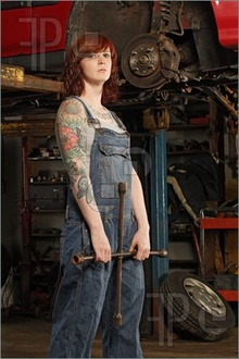 And she's not afraid of a big wrench.