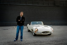 Jeff Carlisi, founding member of rock group .38 Special, on his 1962 Jaguar E-Type as ...
