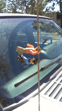 One way to decorate your car antenna.