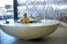 The reception area of the General Motors Technical Center located in Warren, Michigan, designed by ...