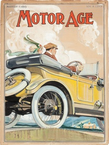Original 1913 Motor Age Magazine Cover Art Illustration Painting By Tarzan Artist Clinton Pettee. This ...