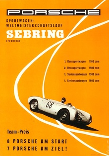 Early racing poster Porsche at Sebring.
