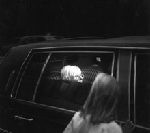 Andy Warhol in limousine circa 1972.