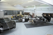 "A peek into the Pagani ""assembly line."" Looks pretty relaxed in there."