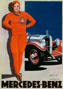 "1928, Mercedes-Benz The ""Woman in Red,"" by commercial artists Cucuel and Offelsmeyer, is one of ..."