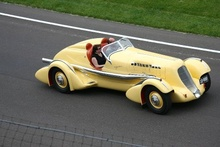 World record holder 1935 Duesenberg SJ Mormon Meteor at the Indy track.
