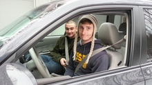 Andy Killorin and brother Sam, in Andy's newly-purchased 2010 Subaru Forrester!