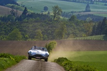 Jaguar XK-E in full song through the countryside. Life Is Good!