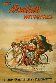No mistaking this early advertisement for Indian motorcycles.
