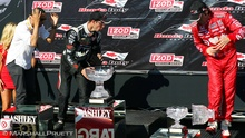Indy driver drops crystal trophy during awards ceremony.