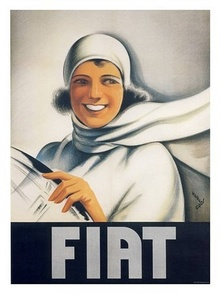 Fiat poster with woman.