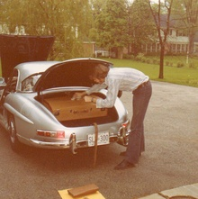 Sometime early 1970s a Mercedes 300SL roadster (with hardtop) and its lucky owner plan for ...
