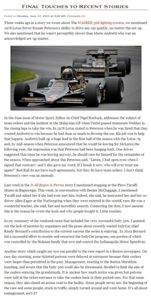 I'm loving Peter Bourassa's blog at Motorsport Marketing Resources. His coverage is top notch and ...