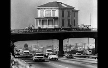House moving in 1970s Los Angeles.