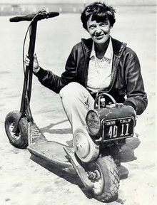 Amelia Earhart and her scooter.