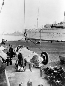 "1938 Mercedes Benz ""Silver Arrow"" W154 travelling by sea."