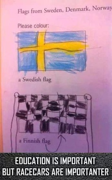 The checker flag of Finland...... right.