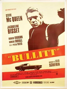 Bullitt large movie poster, 2006, for special release of this 1969 film in France depicts ...