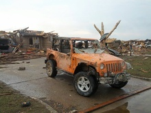 What's left of a Jeep after the Moore, OK tornado.