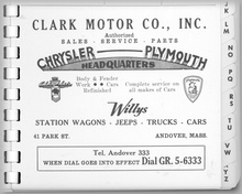 From a late 1950s phone directory Andover, MA, ad for Chrysler dealer Clark Motor.