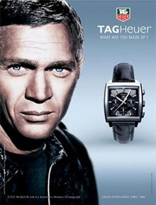 Bitchin ad with Steve McQueen for TagHeuer watches.