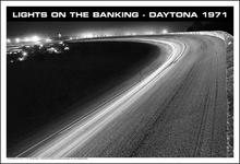Poster depicting lights on the Daytona banking, 1971. $29.95 from www.carbguynation.com