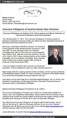 Larry Moss names Board and Event Chairman for the Concours America at St. John's.