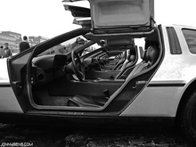 Looking through the gullwing doors of a gaggle of DeLoreans.