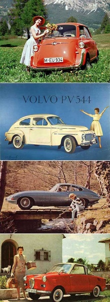 A collage of early ads for Messerschmidt, Volvo, Jaguar, Renault.