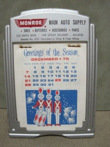 1974 holiday theme calendar from Main Auto Supply.