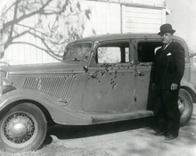 The original Bonnie & Clyde bullet-riddled 1934 Ford.