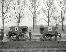 "Circa 1919. ""Red Cross ambulances at Washington Monument."" Courtesy of Yale and Harvard, which had ..."
