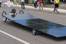 Solar powered drag racer. Is that NObama at the wheel?