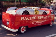 Stretched VW wagon transporting Porsche RSK Spyder. Guess the significance of #55?