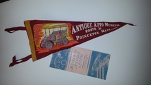 Original 1950s banner and brochure from the Princeton Auto Museum.