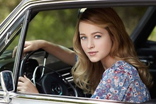 Lovely young lass in a vintage Mercedes.