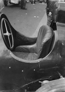 A photograph showing the seat of a racing car, taken by Zoltan Glass in Berlin, ...