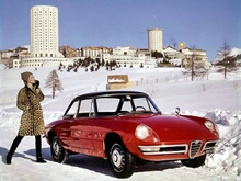 Promo image of the 1966 Alfa Romeo 1600 Spider (Duetto) which was a roadster designed ...