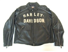 I love the old school lettering on this bomber jacket. It's the Harley 100th anniversary ...