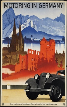 1930s travel poster promoting motoring in Germany.