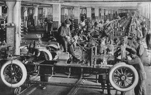 """THE FINAL ASSEMBLY LINE IN A BIG AUTOMOBILE FACTORY"" When cars were first built, all ..."