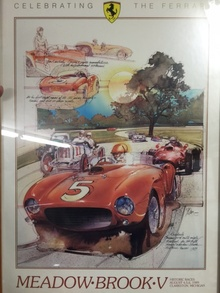 Jim Kimberly and his racing Ferrari commemorated in this 1989 Meadowbrook Concours poster. Thanks to ...