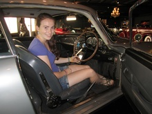 Daughter Abby seated in the most famous car in the world: the James Bond Aston ...