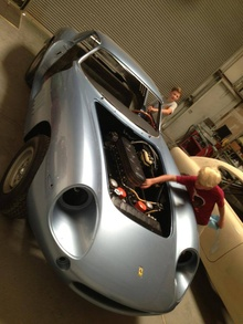 Max's sons viewing their Dad's work on a 275 Ferrari. Max made the lower front ...