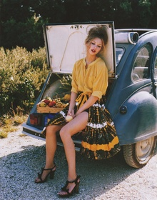 Picnic gear in a vintage Citreon.