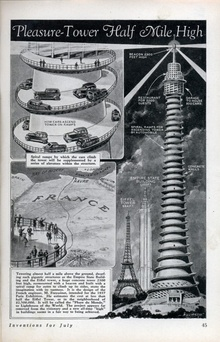 From 1933, 1933: Proposed tower for the 1937 Paris Exposition.