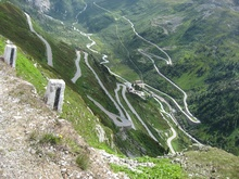 Located near Gletsch, Switzerland, the Grimsel Pass offers yet another spectacular hairpin climb up the ...
